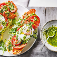 Slow-roasted tomatoes with chorizo & poached eggs