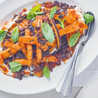 Sticky harissa carrots with mint, ricotta & lentils