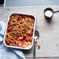 Spiced rhubarb & orange crumble