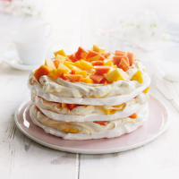 Tropical fruit triple pavlova