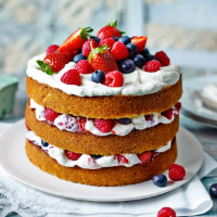 Utterly berry cake with marshmallow frosting