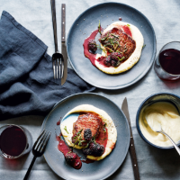 Waitrose 1 seared & roasted venison with blackberry sauce & puréed celeriac