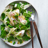 Warm pea and spinach salad with ricotta