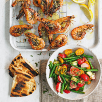 Zaatar prawns with chopped vegetable salad