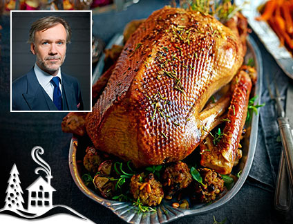 Marcus Wareing's roast goose with stuffing and gravy