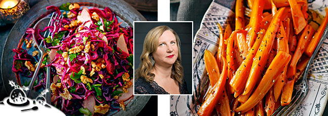 Angela Hartnett's red cabbage and apple salad and honey and cumin caramelised carrots