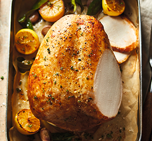 Turkey Crown with Shallot & Smoked Sage Stuffing & Herb Butter
