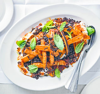 Sticky harissa carrots with mint, ricotta and lentils