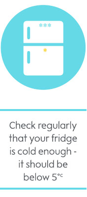 Check regularly that your fridge is cold enough - it should be below 5C