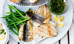 Grilled Cornish sardines with green salsa