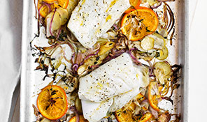 Tray-baked cod with fennel, red onion and orange