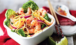 Orange and king prawn noodle salad