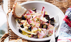 Chicory, radish and grape salad
