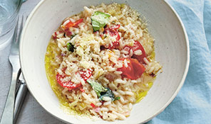 Tomato, chilli & basil-butter risotto