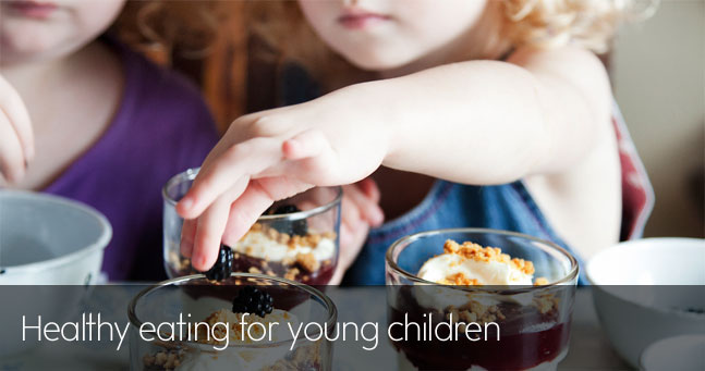 Healthy eating banner for young children