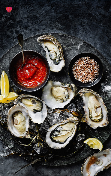 Rock oysters with cocktail sauce and mignonette