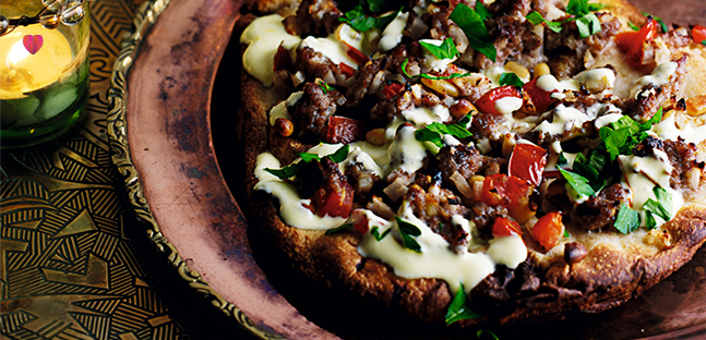 Spiced lamb naan breads with saffron yogurt