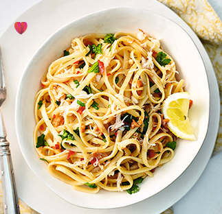 Linguine with crab, chilli and garlic