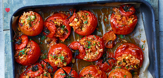 Greek-style stuffed tomatoes