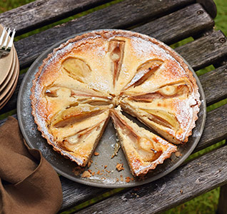 Pear, white chocolate and cardamom tart
