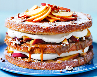 Peaches and cream salted caramel cake