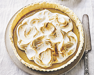 The Happy Pear's vegan salted caramel meringue tart