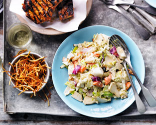 Heston's yuzu remoulade with barbecued pork chops