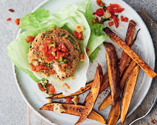 Chipotle bean burger with sweet potato wedges