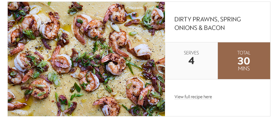 Dirty prawns, spring onions & bacon