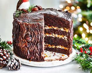 Chocolate, caramel and chestnut yule log cake
