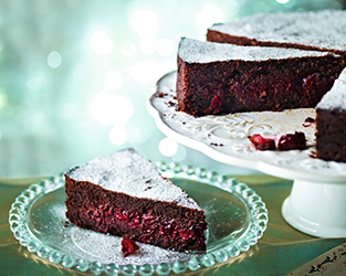 Chocolate and cranberry cake