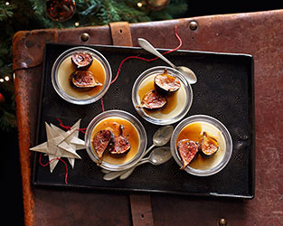 Maple panna cotta with buttered rum figs