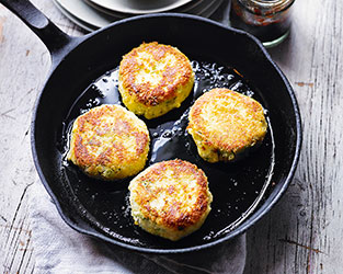 Stilton, parsnip & potato cakes