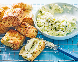 Cheese scones with whipped feta butter
