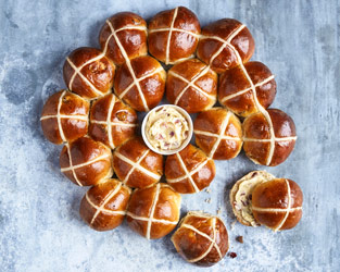 Edd Kimber's fig and cranberry hot cross buns with maple bacon butter