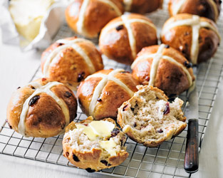 Martha's cranberry, pecan & honey hot cross buns