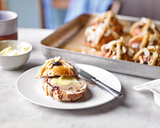 Martha's cherry & almond hot cross buns
