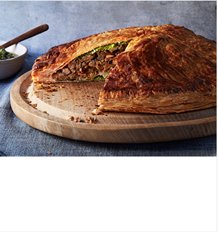 Nutty pithivier with watercress & pistachio pesto