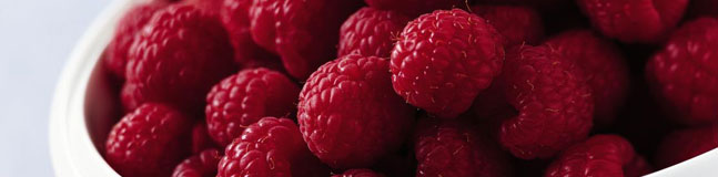 Fresh, plump raspberries