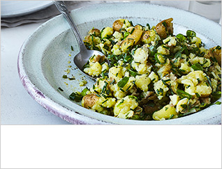 Smashed Jersey Royals with tarragon and chive butter