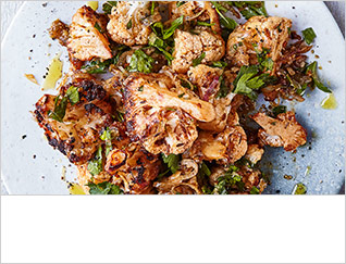 Roast cauliflower with lime and shallot dressing