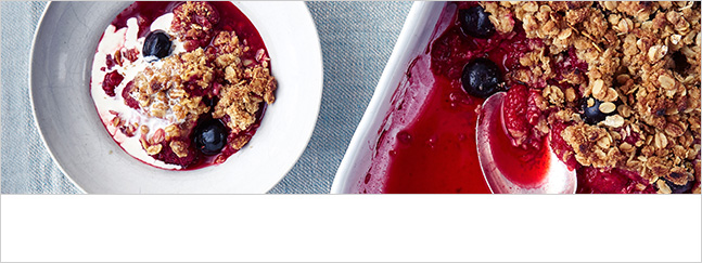 Raspberry and blueberry crisp