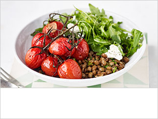 Roast tomato and lentil bowls
