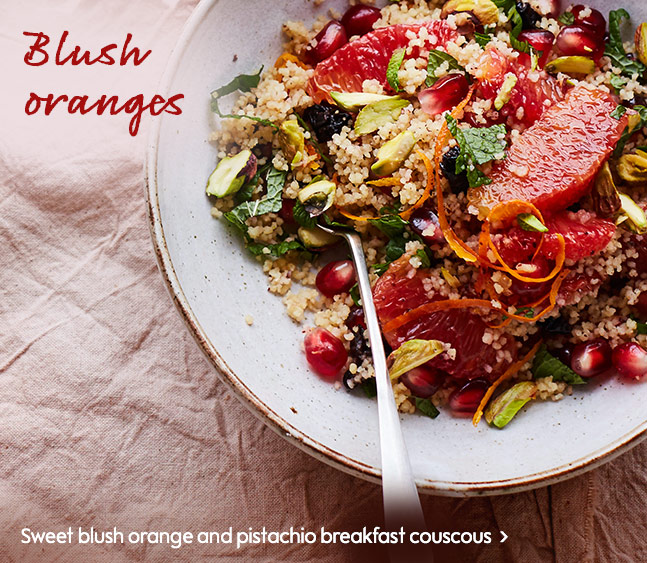 Sweet blush orange and pistachio breakfast couscous