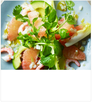 Pink grapefruit, prawn & avocado salad