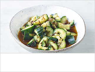 Smashed cucumber with ginger & chilli oil