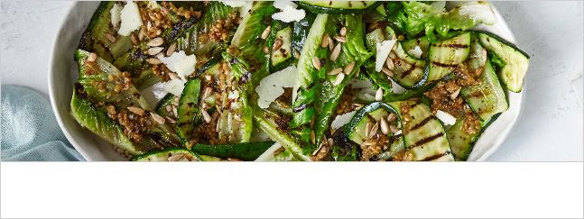 Charred lettuce and courgette salad with toasted sunflower seed dressing