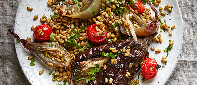Salad of roast shallots and aubergine with freekeh and sumac