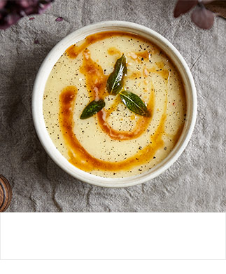 Roast shallot and parsnip soup with browned sage butter