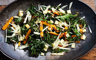 Warm carrot, apple & crispy kale salad